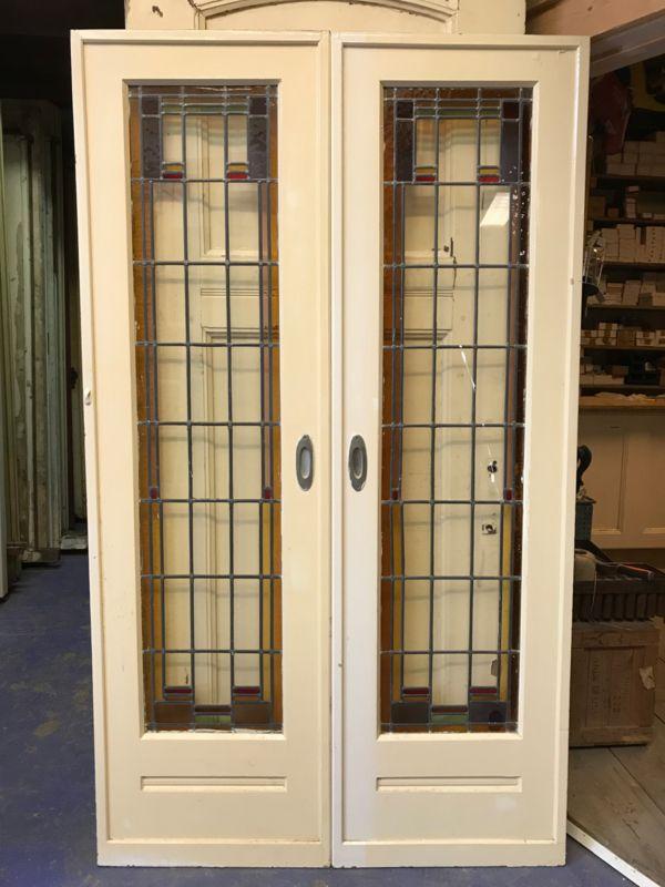 Ensuite Deuren Glas In Lood.Nr E153 Smalle Ensuite Deuren Met Glas In Lood Oude Deuren In
