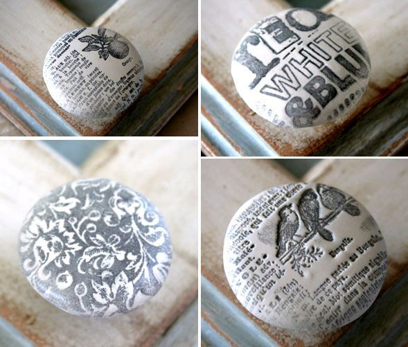 Decoupage Drawer Knobs And Stenciled Tags From Sweet Peach Blog