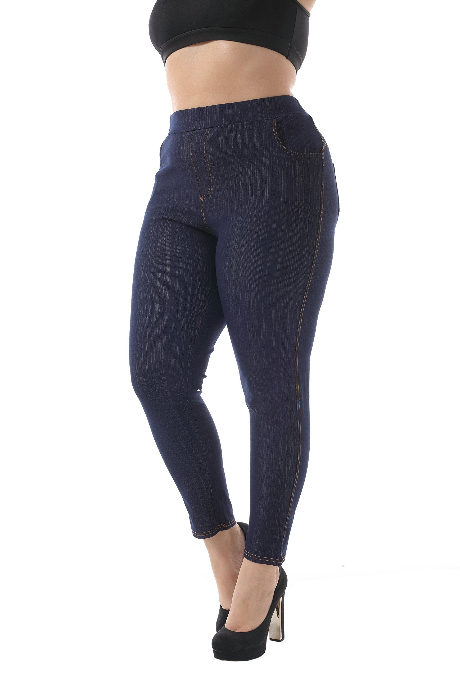 f827b3f585c9c ZERDOCEAN Womens Plus Size 4 Pockets Stetchy Long Jeggings Tights Leggings  Indigo Blue 1X ** Details can be found by clicking on the image.