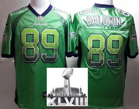 Nike Seattle Seahawks 89 Doug Baldwin Green Drift Fashion Elite 2014 Super Bowl XLVIII NFL Jerseys