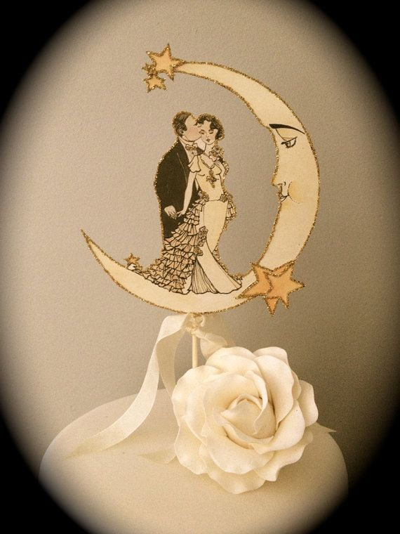 Art Deco Wedding Cake Topper. Moon Cake Topper. Celestial Cake ...