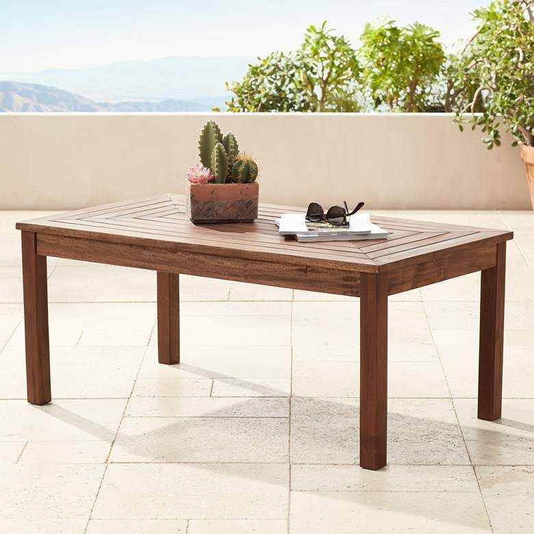 Nantucket 42 Wide Dark Natural Wood Outdoor Coffee Table 22v62