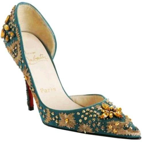 Christian Louboutin New Helmut satin 100 shoes blue crystal