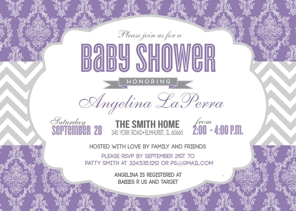 Damask Lilac Baby Shower, Bridal Shower Invitation, Lilac & Gray ...