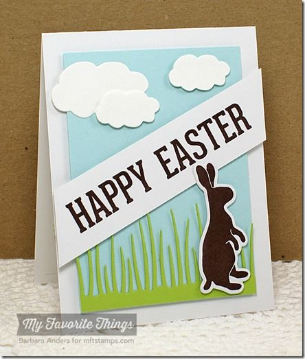 Easter Bunny, Cloud Trio Die-namics, Easter Bunny Die-namics, Tall Grassy Edge Die-namics - Barbara Anders #mftstamps