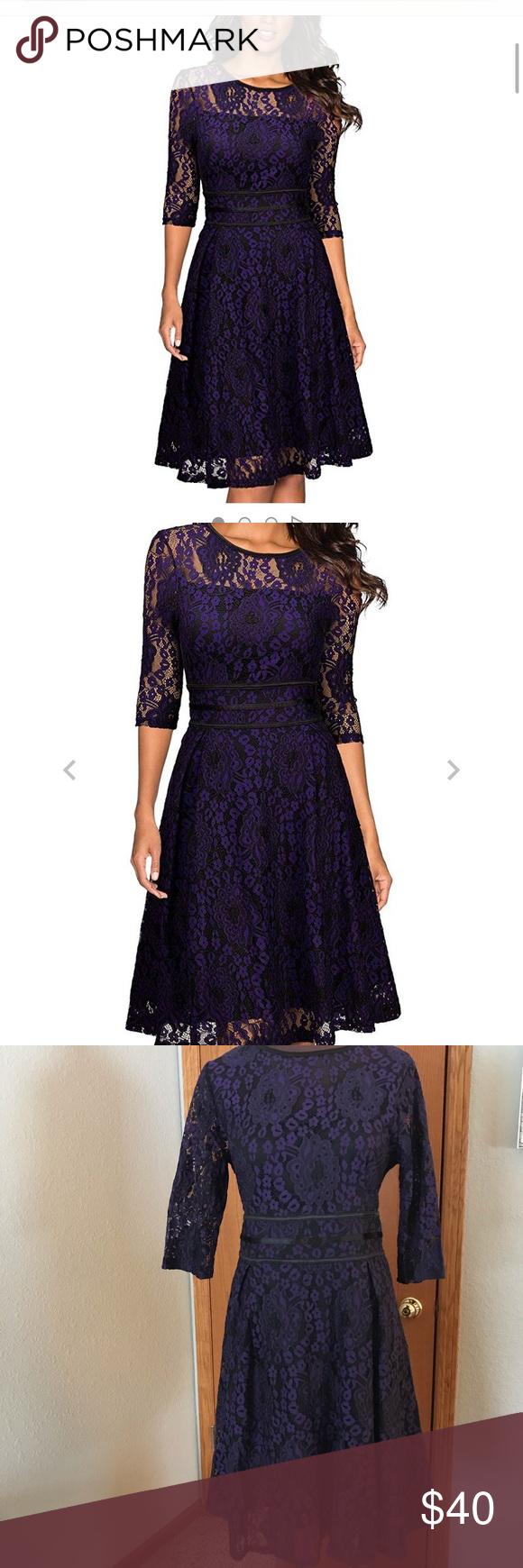 Miusol Purple And Black Lace Floral Dress 64 Cotton32