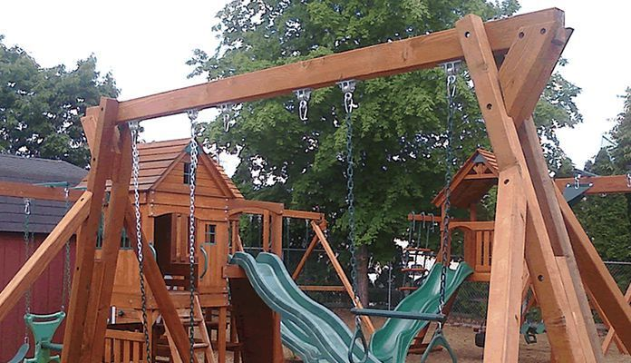 Freestanding Swing Set Plan From All Thumbs Do It Yourself
