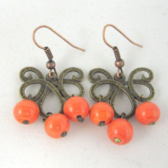 Coral vintage pearl chandelier earrings on Etsy, 140,85 kr   Для ...