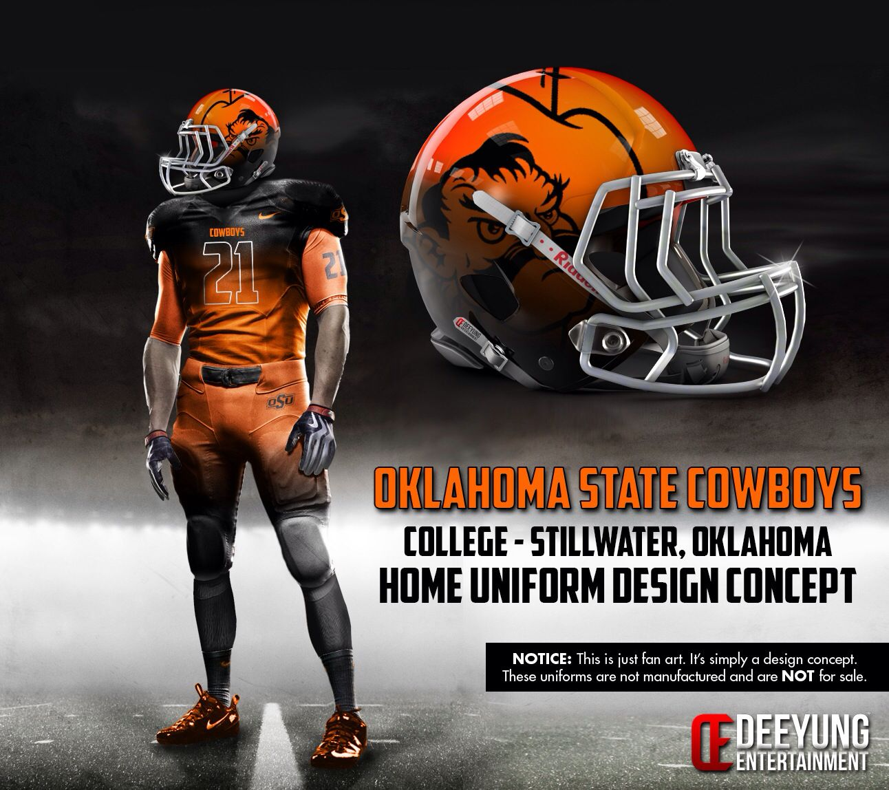 Cowboys Concept Uniform Oklahoma State Football Oklahoma State College Football Helmets