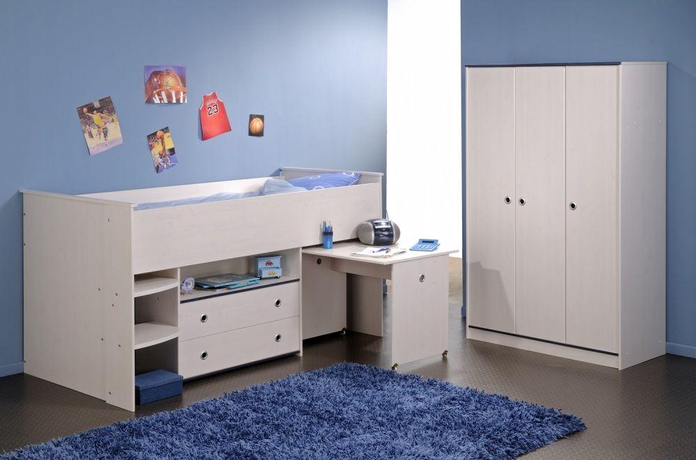 Hochbett Woozy In Blau Mit 3 Trg Kleiderschrank Hochbett Madchen Junge Schlafzimmermobel Bett Ideen
