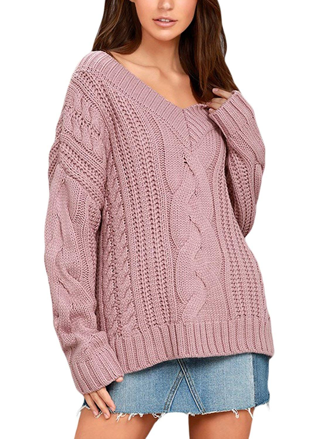 61aaf2aafc78 Sidefeel Women Casual V Neck Loose Fit Knit Sweater Pullover Top at Amazon Women s  Clothing store
