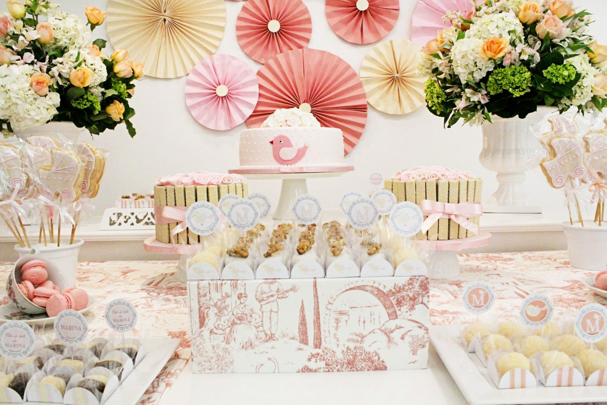 Beautiful Pink Toile Baby Shower #Pink Peppermint Prints #Pink Peppermint