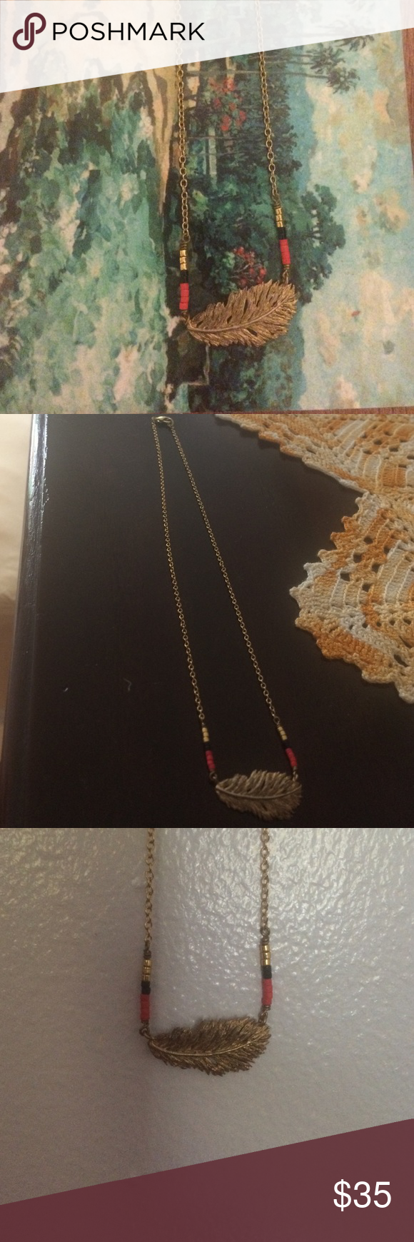 Dainty gold beaded feather necklace Beaded short necklace with clasp and feather pendant. Bought handcrafted Jewelry Necklaces
