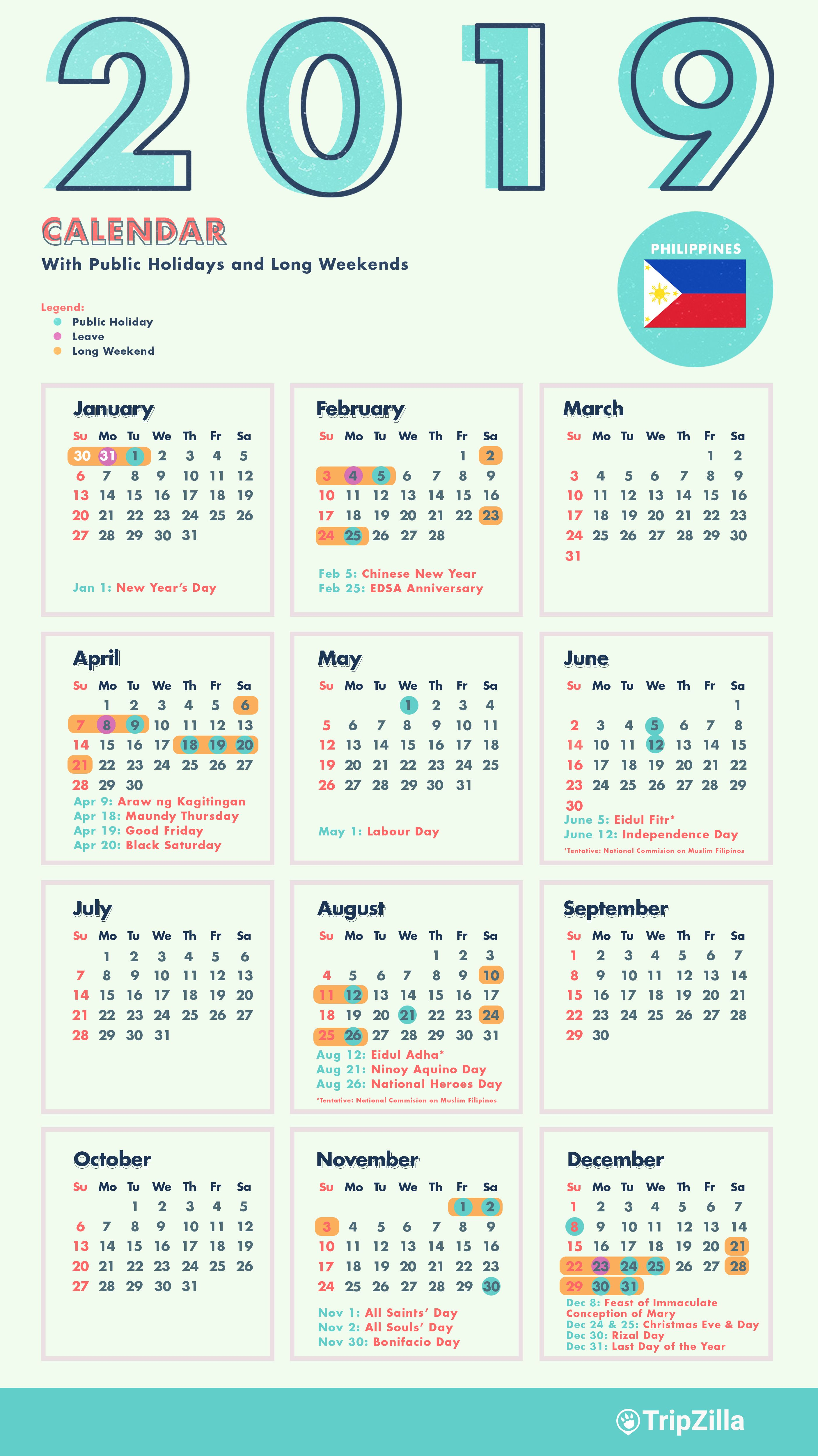Calendar 2019 Holidays Philippines With 10 Long Weekends