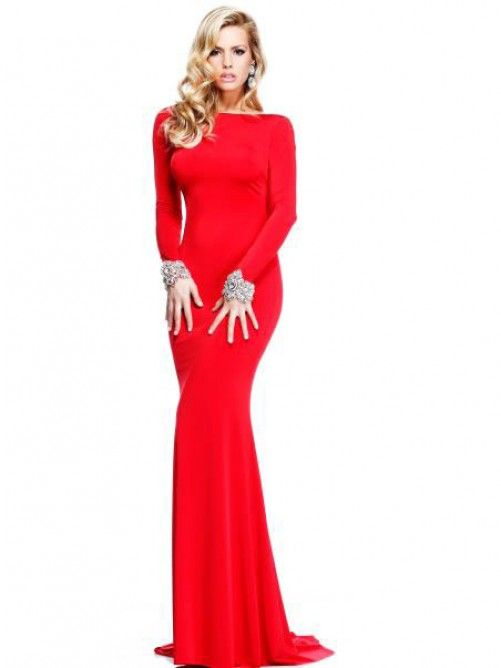 Red long sleeved evening gown with cowl back  5e283a772db0