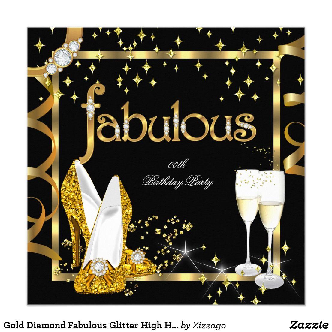 Gold Diamond Fabulous Glitter High Heels Party Invitation ...
