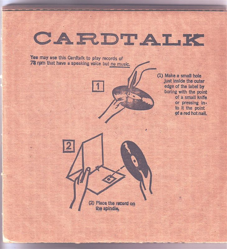 FINGER PHONE or CARDTALK (1960s), The record in a corrugated cardboard mailer sleeve folds into a make-shift, human-powered player which, when turned using a pencil, transmits vibrations through the needle and amplifies via cardboard corrugations.