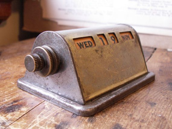 Vintage Brass Perpetual Desk Calendar Desk calendars and Desks