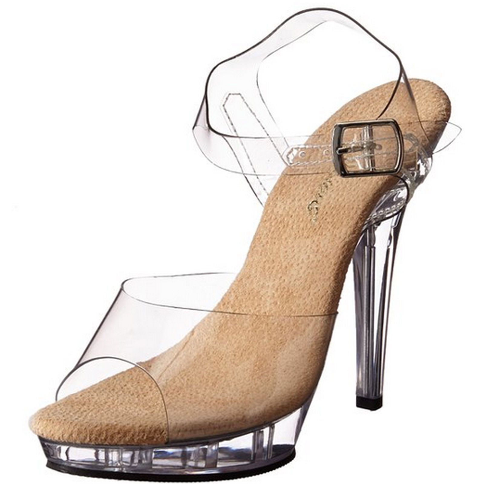5b041e5b3b Fabulicious Platform Ankle Strap Sandal High Heel Stripper Shoes Lip-108  Clear