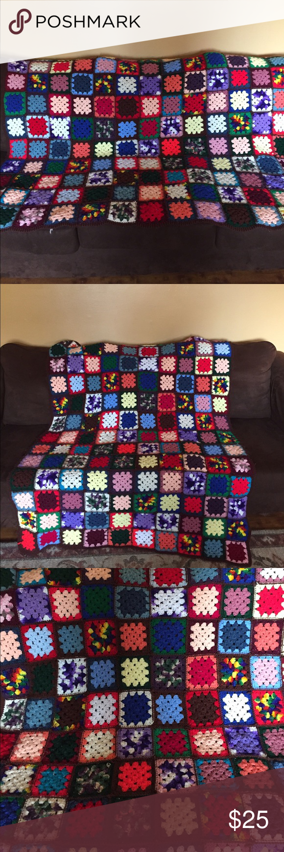 """Homemade Crocheted Afghan Crocheted Afghan. Vibrant colors. Handmade. 45""""x60"""" they perfect gift to keep that cold person in your life warm. Other"""