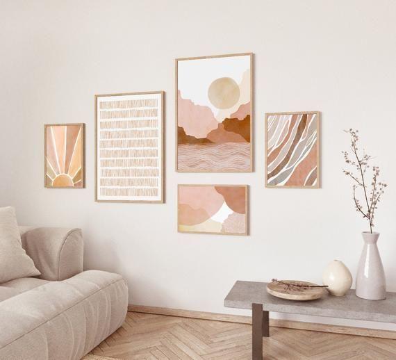 Set of 5 Prints, Watercolor Art, Gallery Art Set, Boho Decor, Living Room Decor, Geometric Print, Mi