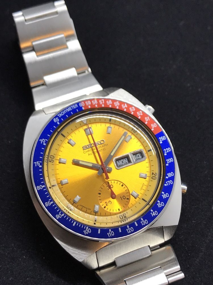 d80f14bbfd Vtg Chron Seiko 6139 6002 Pepsi Dial POGUE Automatic Yellow Face H-linke  Gold B3