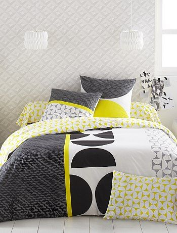 Parure de lit imprimé en coton blanc linge de lit kiabi