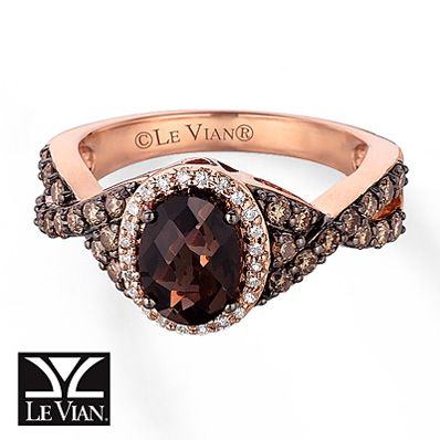Le Vian Chocolate Quartz 5 8 ct tw Diamonds 14K Gold Ring