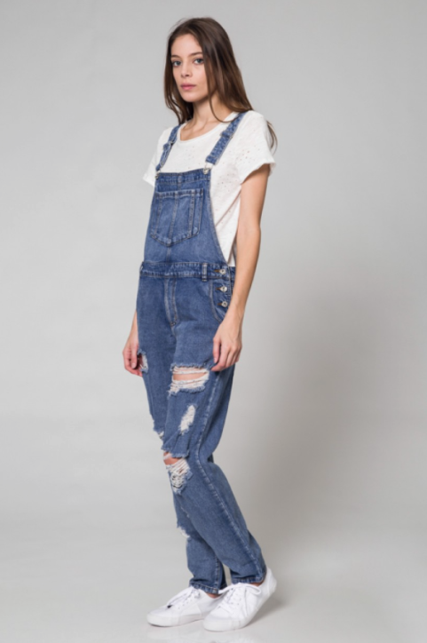Calistyle Jane Ripped Denim Overall. Stylishly distressed denim overalls that…