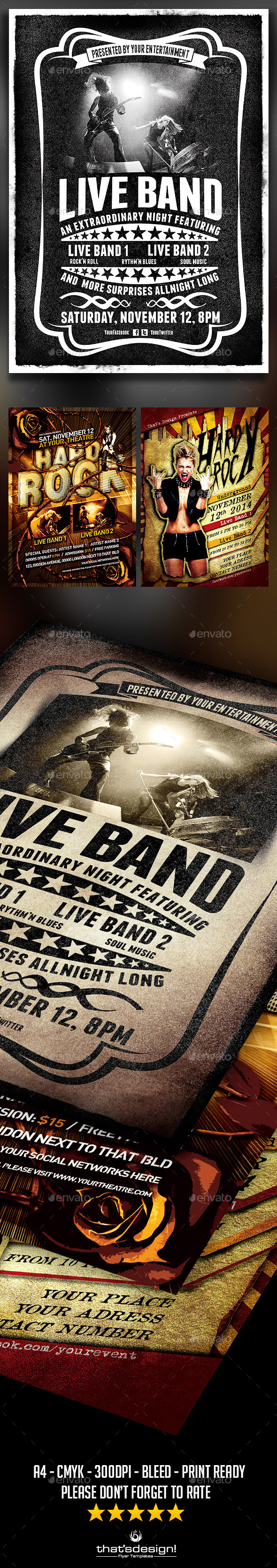 Live Band Flyer Bundle V  Live Band And Flyer Template