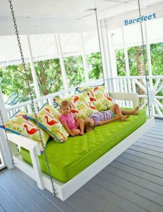 Twin bed swing to sleep outside on a nice-weather night ...