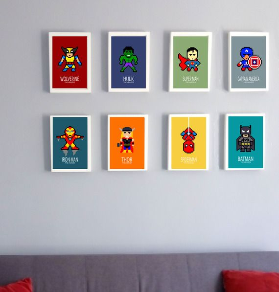 8 affiches superheros, Batman, captain america, wolverine, superman