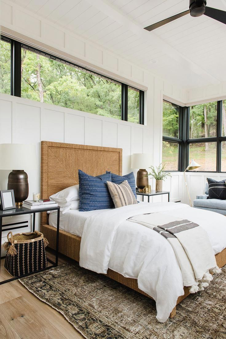 Modern guest room with paneled walls, black windows