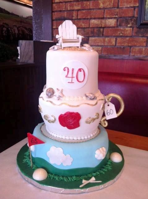 Cake representing birthday, anniversary and retirement all in one!