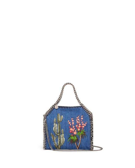 8c5df73949 Women s Blue  falabella  Mini Embroidered Eco Denim Two-way Chain ...
