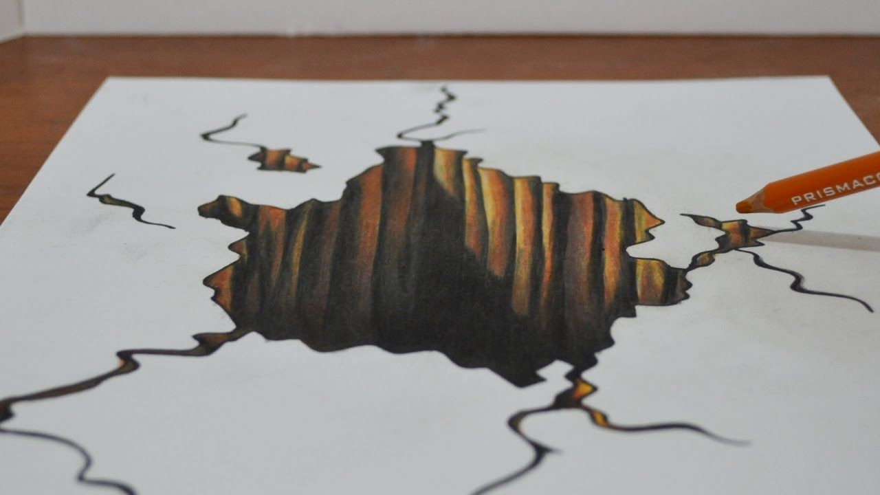 Drawing a 3d hole trick art on paper drawing and for How to do 3d paper art