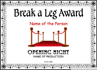 Opening night certificate template free to customize and download opening night certificate template free to customize and download to email or print clevercertificates yadclub Images