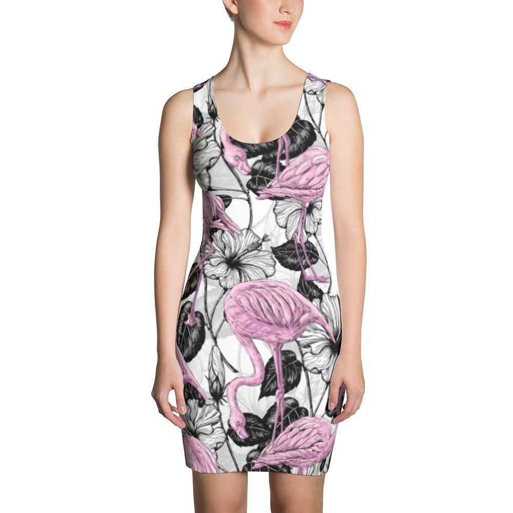 Flamingos and hibiscus flowers inktale shop pinterest hibiscus flamingos and hibiscus flowers dresses by katerina kirilova inktale inktale dress clothing izmirmasajfo