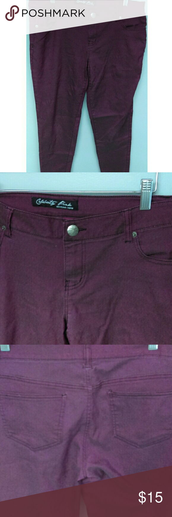Jeggings Maroon jeggings. Never worn and in good condition. Very stretchy and comfortable. Celebrity Pink Jeans Skinny