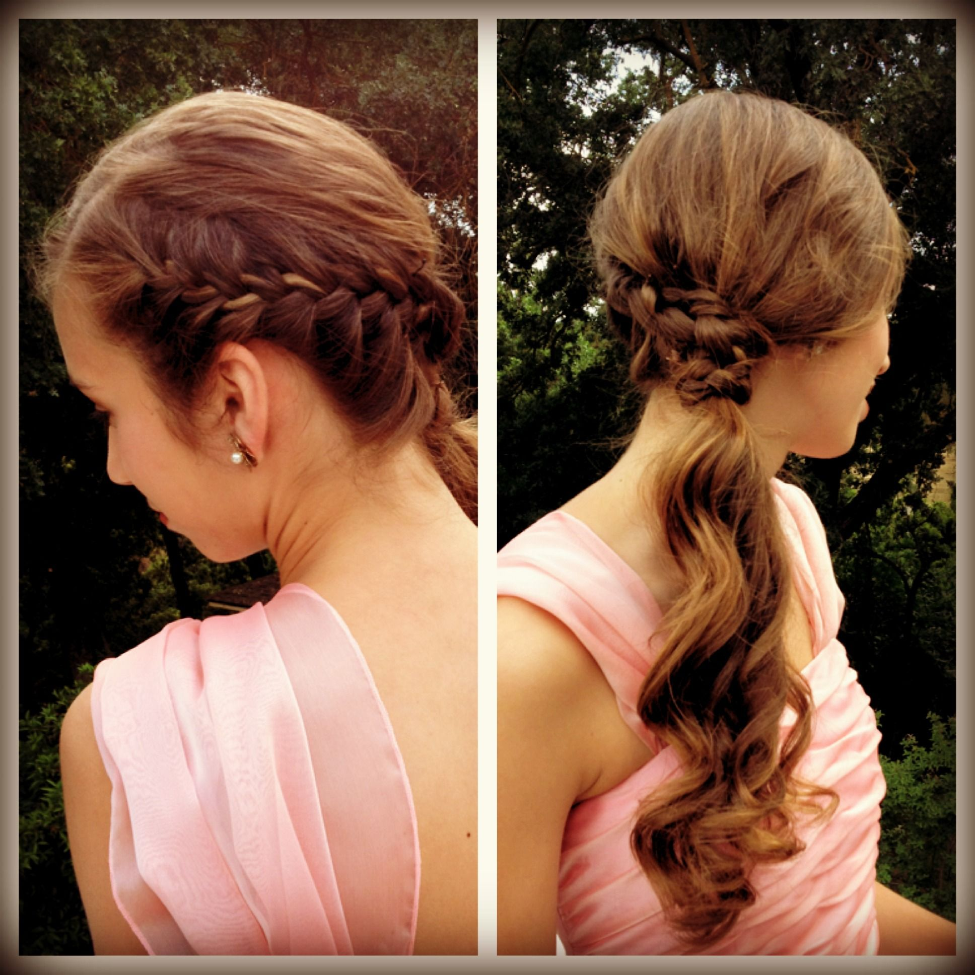 French braiding tips - Emily S Hairstyle For Our Grandmas Wedding French Braid Into Side Ponytail