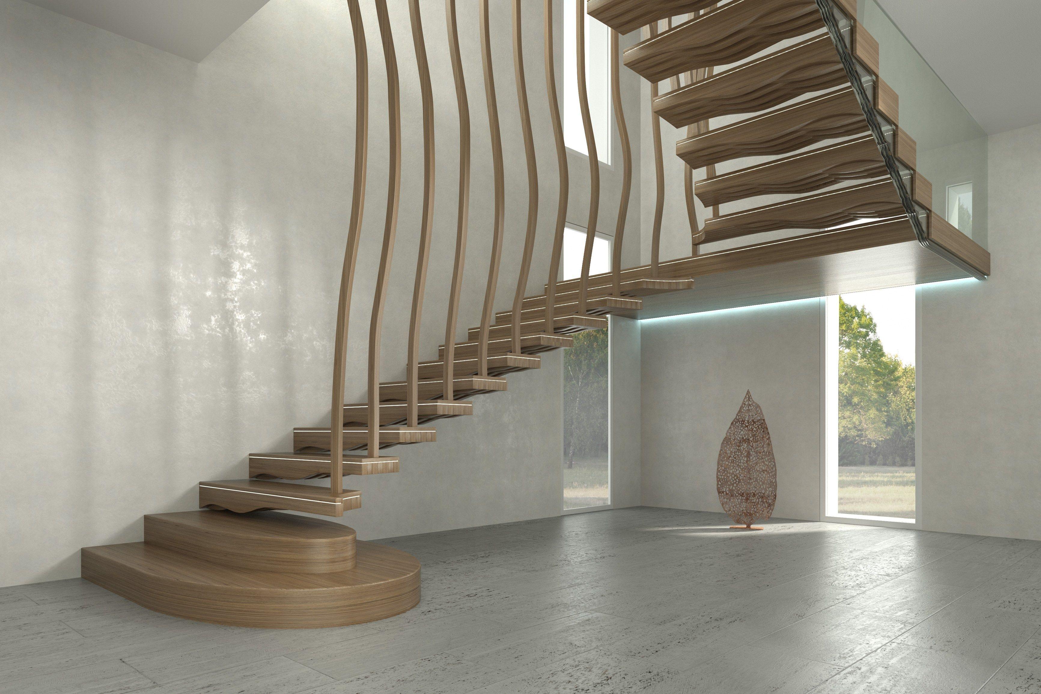 escalera volada de madera maciza wave by siller treppen diseo siller stairs - Escaleras Voladas
