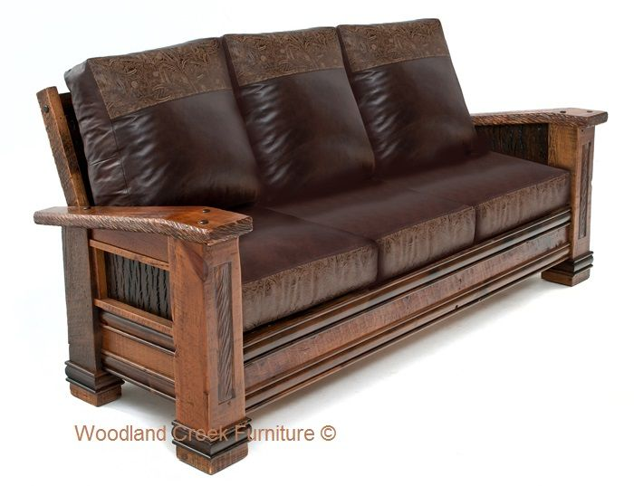 This Beautiful Rustic Cabin Sofa Starts With Reclaimed Barnwood