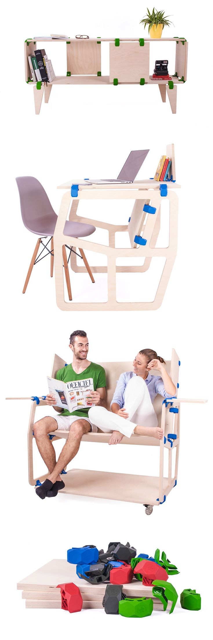 'Playwood' is an A'Design Award Winner which is more than just furniture, it allows the user to create to play around, and come up with different designs, such as desks, shelves, tables and more... READ MORE at Yanko Design !