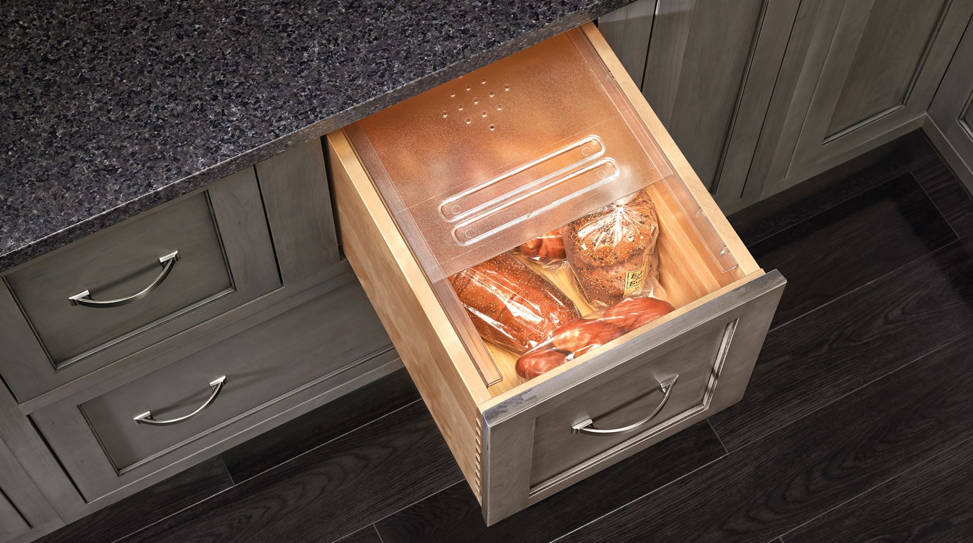 Convert Any Drawer Into The Perfect Bread Drawer With Rev A Shelf S Bdc Series Designed For 24 Or Smaller Base Cabine Bread Drawer Drawers Rev A Shelf