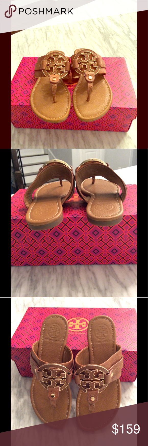 a5a11ccf3d3eaf Tory Burch Amanda Sandals Beautiful Tory Burch Amanda Sandals in tan nude  soft cowhide leather with medallions trimmed in gold. You will mistake  these for ...