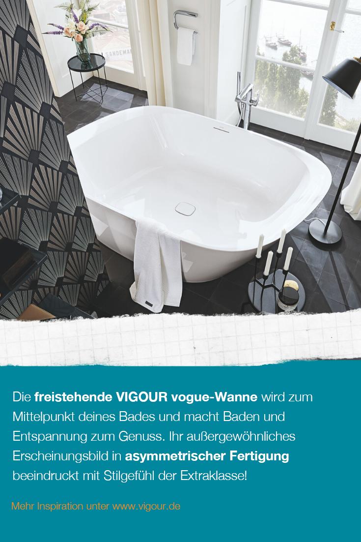 Wellness Fur Zuhause Asymmetrische Freistehende Badewanne Von Vigour Vogue In 2020 Badewanne Wanne Baden