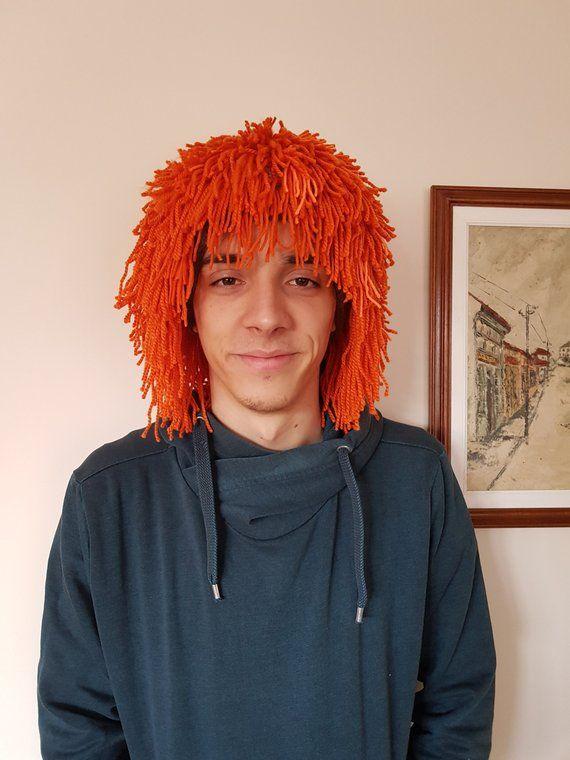 Orange hair hat Halloween Wig Beanie with Beard Crochet beard beanie Yarn hair hat Crazy festival Gift for him Cap Knit wig Wild man wig #crochetedbeards