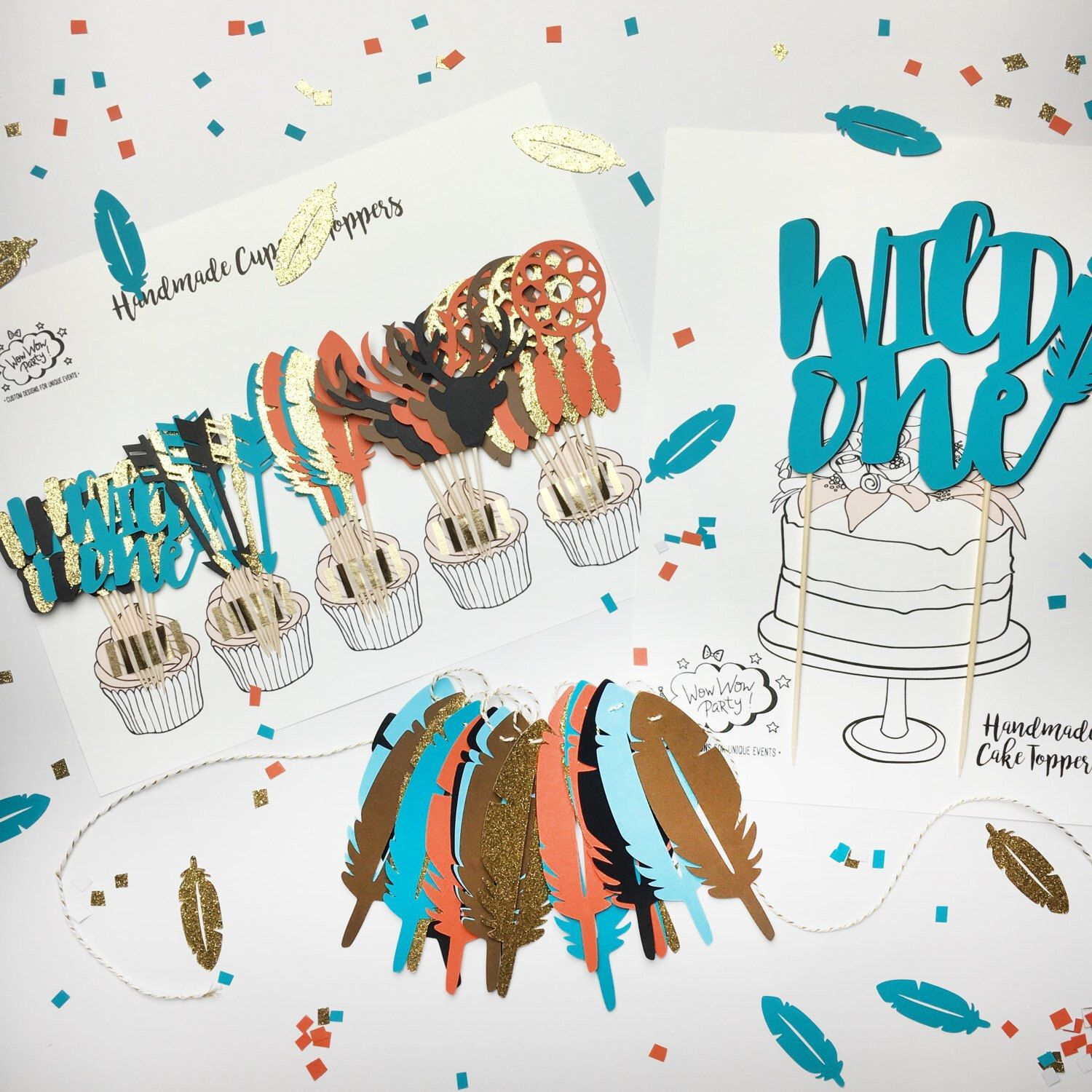 Design banner for etsy - Pow Wow Party Decoration Set Feather Banner Wild One Cake Topper Tribal