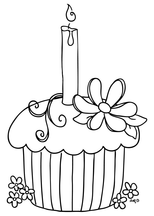 Cupcake With Candle On Top Coloring Page Netart In 2020 Cupcake Coloring Pages Birthday Coloring Pages Happy Birthday Coloring Pages