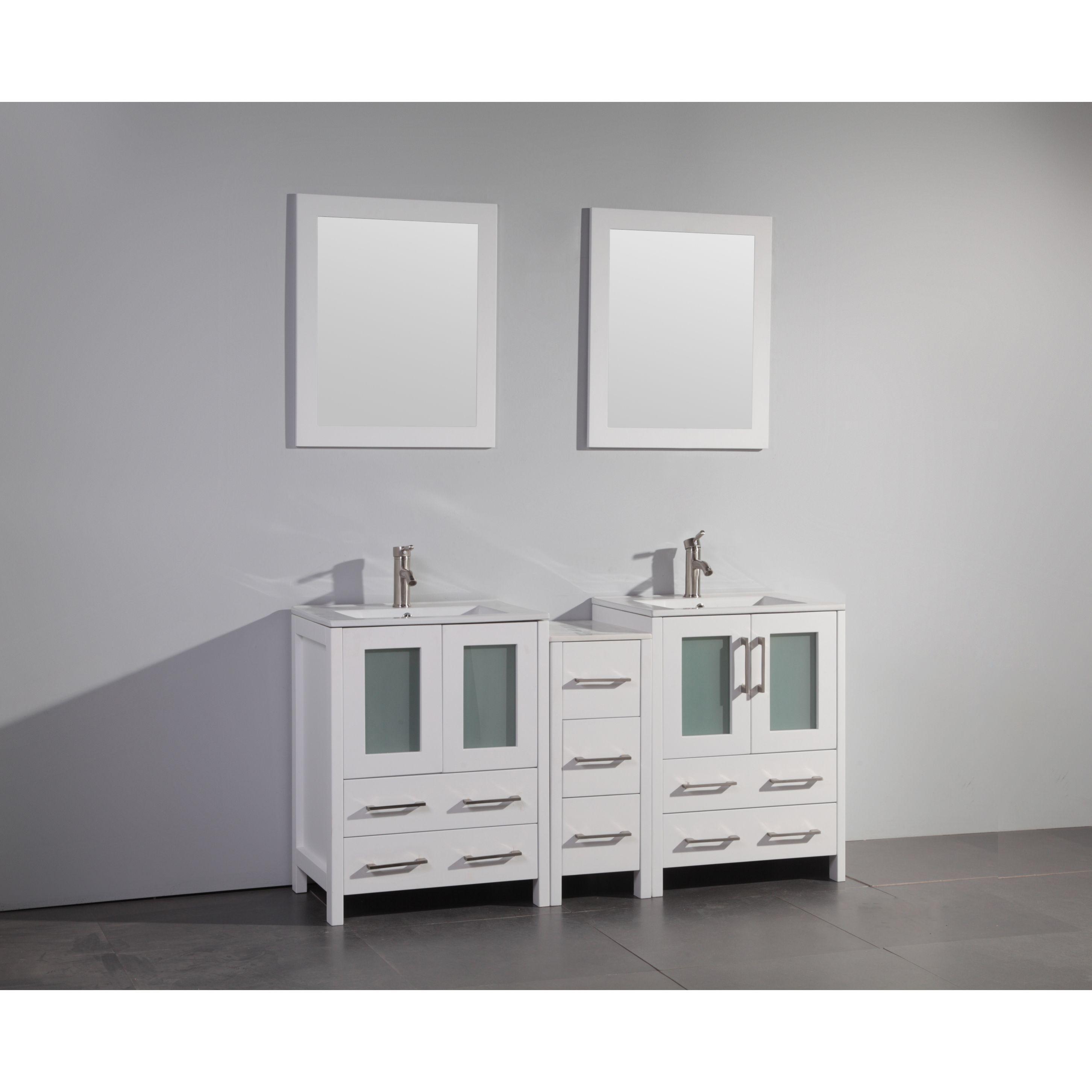 Vanity Art White/Grey Oak/Ceramic 60-inch Double Sink Bathroom Vanity Set (White), Size Double Vanities